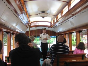 Tour Guide inside Hershey Trolley
