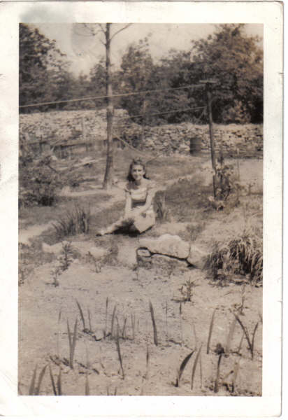 My mother Jeannette in yard of home in Weston Place, PA.