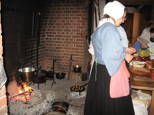 Penn's cooks prepared food in the fireplace