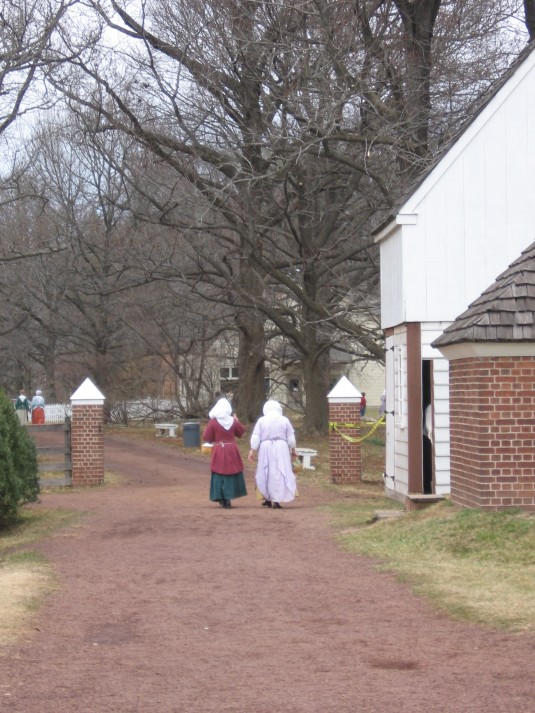 Two women leaving Pennsbury Manor