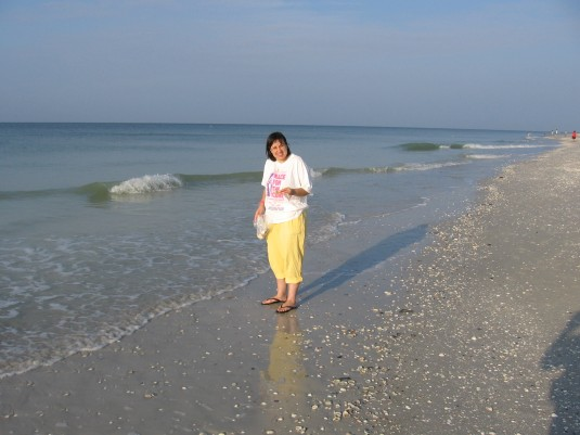 I'm on Sanibel Island in Florida  shell-seeking.