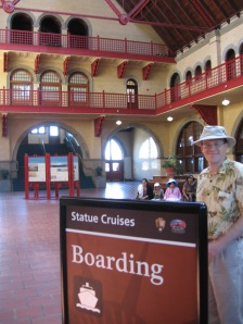 Main hall of old railroad terminal, a plethora of red