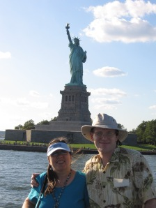 A view of Lady Liberty from the ferry, Grace and Pat