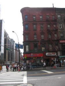 a ruby-hued NYC street corner