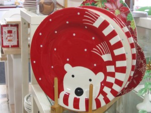 Polar bear in red