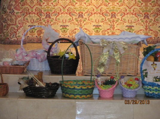 "Holy Saturday Easter ""Food"" baskets to be Blessed by our priest."