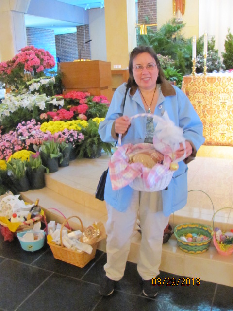"""Here's our Easter """"Food"""" basket that was blessed."""