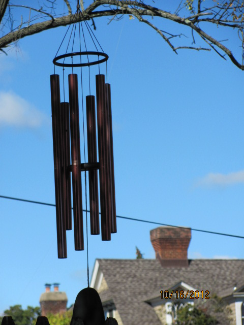 wind chimes and the blue sky!