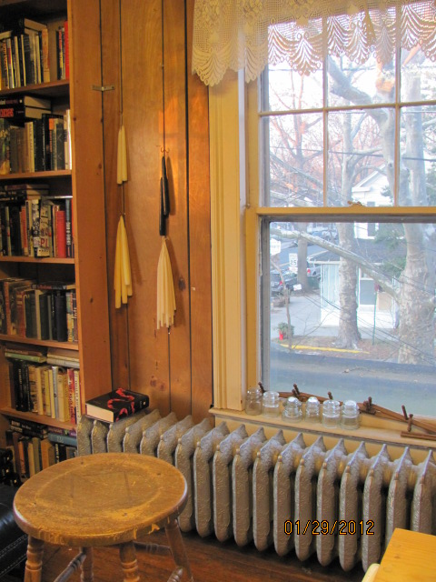 A pretty view through the lace curtain at a quaint book shop in Cranbury, N.J.