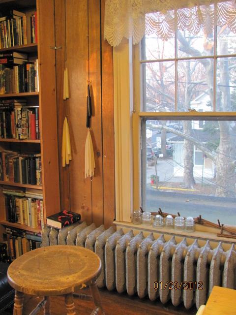 A pretty view through the lace curtain at a quaint book shop in Cranbury, N.J.