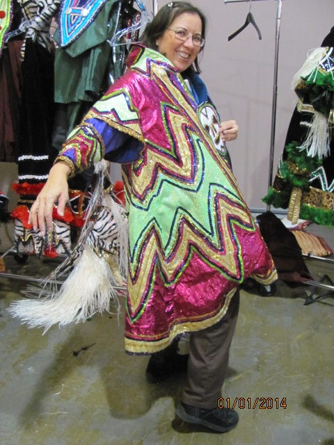 Trying on a prior year's Mummer sequined costume